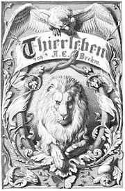 Brehms Thierleben - Titelblatt der zweiten Auflage